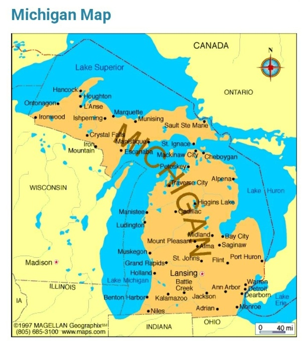 What US state borders four of the five Great Lakes? - Quora  Great Lakes Map on