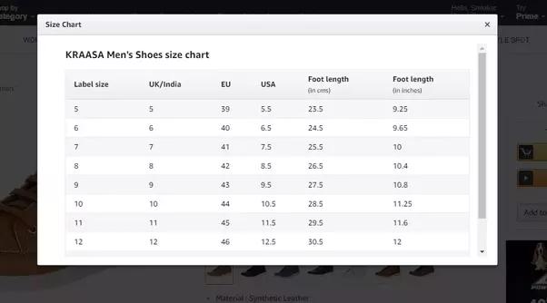 Boys Men Shoe Size Chart Conversion