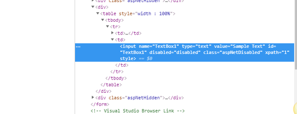 How to get text for a disabled input field box using
