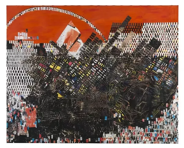 And Here Is A Multimedia Work Scortched Earth By Famous Contemporary Painter Mark Bradford