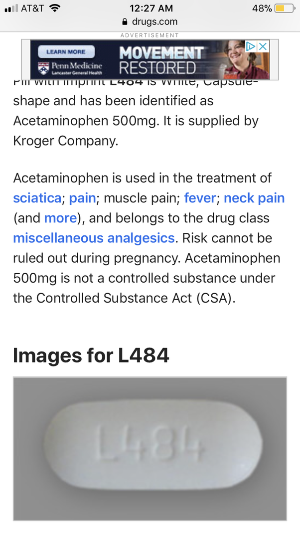 What Pill Is Oval White And Has L484 On One Side Quora