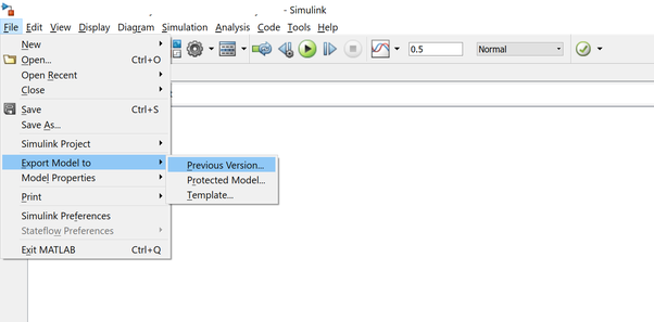 How to run a Simulink file in older version of MATLAB, which