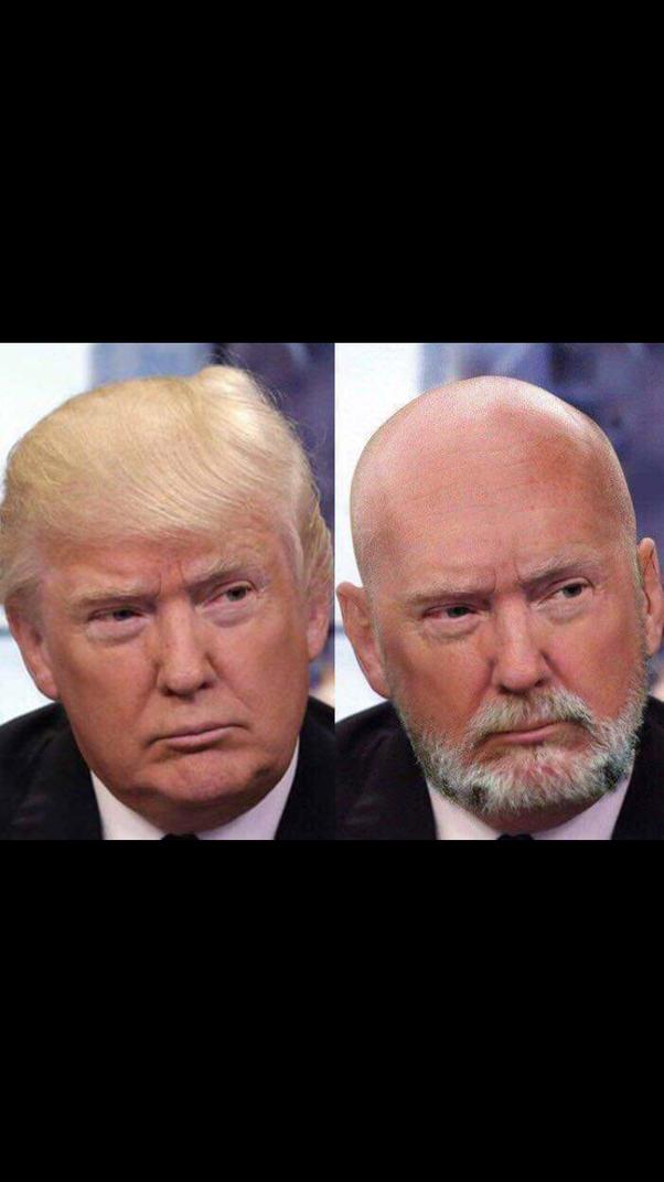 Shaved head trump