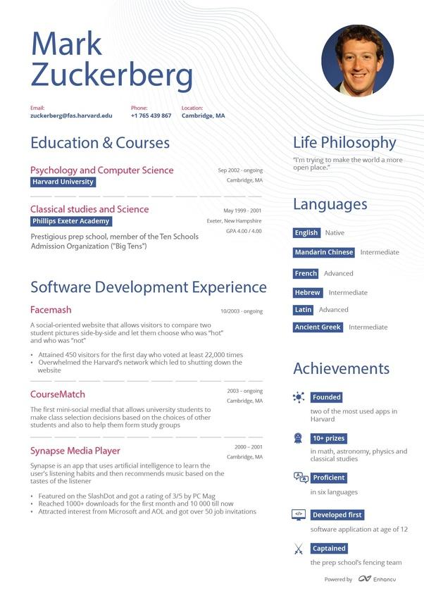 What Does Mark Zuckerberg S Resume Look Like Quora