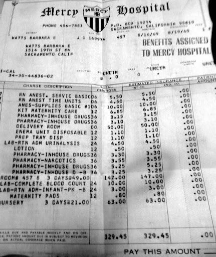 How Much Did Childbirth Cost In America In 1969?